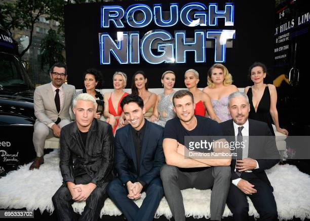 Ilana Glazer Kate McKinnon Demi Moore Scarlett Johansson Zoe Kravitz Jillian Bell and Lucia Aniello pose with Colton Haynes Paul Downs Ryan Cooper...