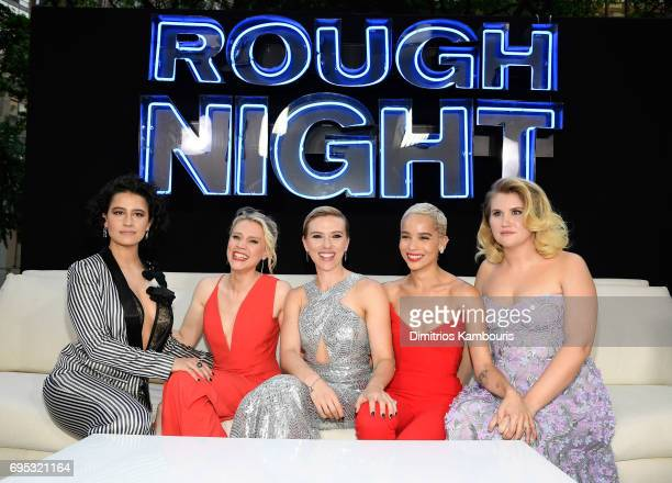 Ilana Glazer Kate McKinnon Scarlett Johansson Zoe Kravitz and Jillian Bell attend the 'Rough Night' premeire at AMC Loews Lincoln Square on June 12...
