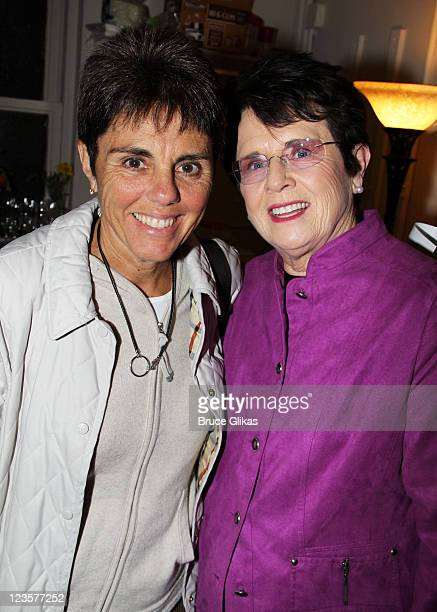 Ilana Kloss and partner Billie Jean King pose backstage at the hit play The Normal Heart on Broadway at The Golden Theater on April 23 2011 in New...