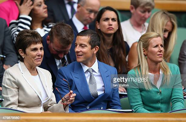 Ilana Kloss Bear Grylls and Shara Grylls attend day nine of the Wimbledon Lawn Tennis Championships at the All England Lawn Tennis and Croquet Club...