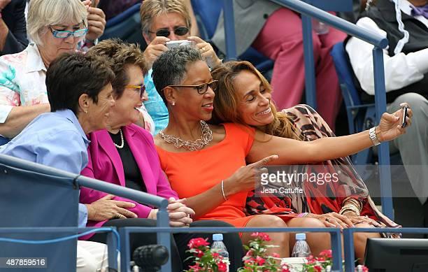 Ilana Kloss her partner Billie Jean King USTA President Katrina Adams pose for a selfie on day twelve of the 2015 US Open at USTA Billie Jean King...