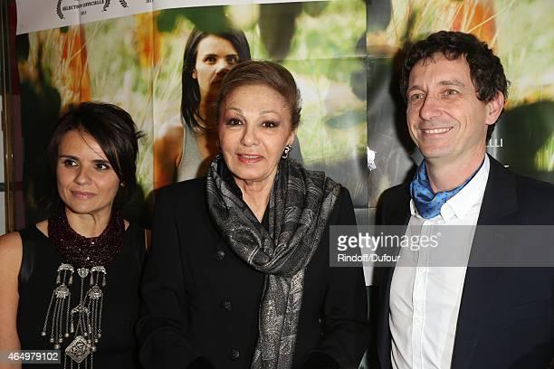 Ilaria Borrelli SMI Farah Pahlavi and Guido Freddi attend the 'Talking to the TreesRetour a la Vie' Paris screening at Cinema l'Arlequin on March 2...