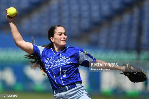 Ilaria Cacciamani of Italy pitches against Mexico during their Playoff Round at ZOZO Marine Stadium on day nine of the WBSC Women's Softball World...
