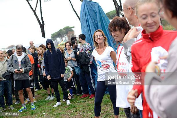 Ilaria Cucchi sister of Stefano gives the start of the Marathon at the park of the Aqueducts in memory of Stefano Cucchi the young man who died Oct...