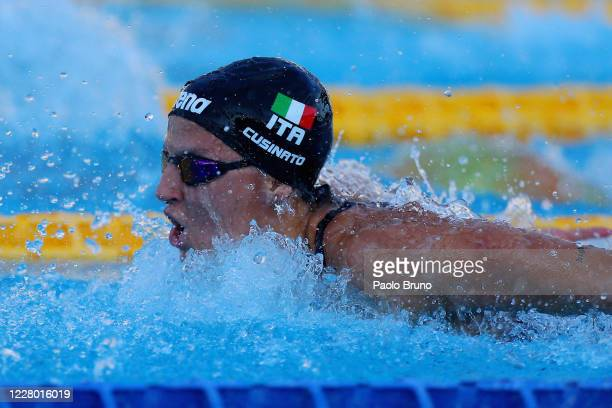 Ilaria Cusinato of Italy competes in the women's 100m butterfly during the 57th Settecolli 2020 international swimming trophy at Foro Italico on...