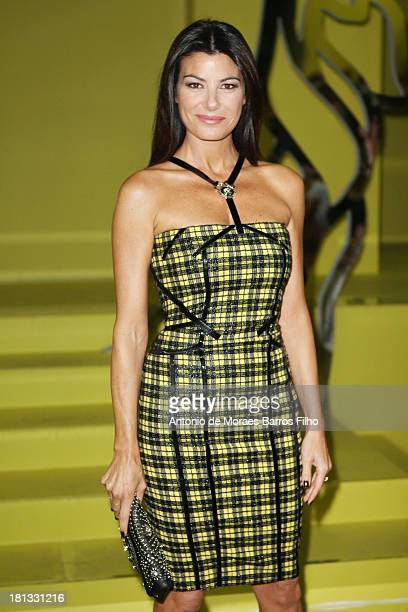 Ilaria D'Amico attends the Versace show as a part of Milan Fashion Week Womenswear Spring/Summer 2014 on September 20, 2013 in Milan, Italy.