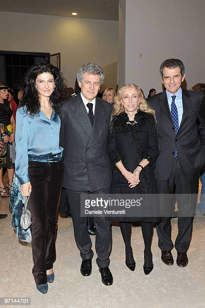 Ilaria Ferragamo Alain Elkann Franca Sozzani and Ferruccio Ferragamo attend 'Greta Garbo The Mystery Of Style' opening exhibition during Milan...