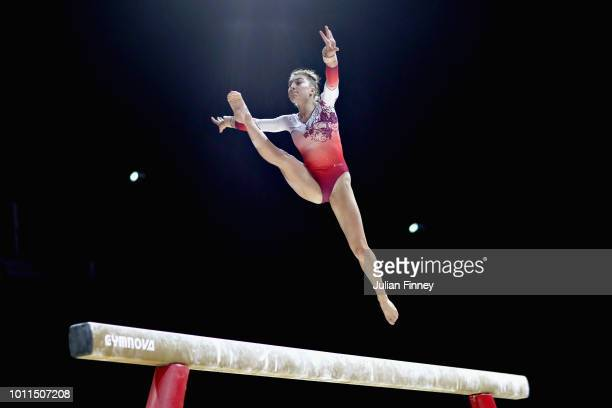 Ilaria Kaeslin of Switzerland competes in the Women's Individual Beam Final during the gymnastics on Day Four of the European Championships Glasgow...