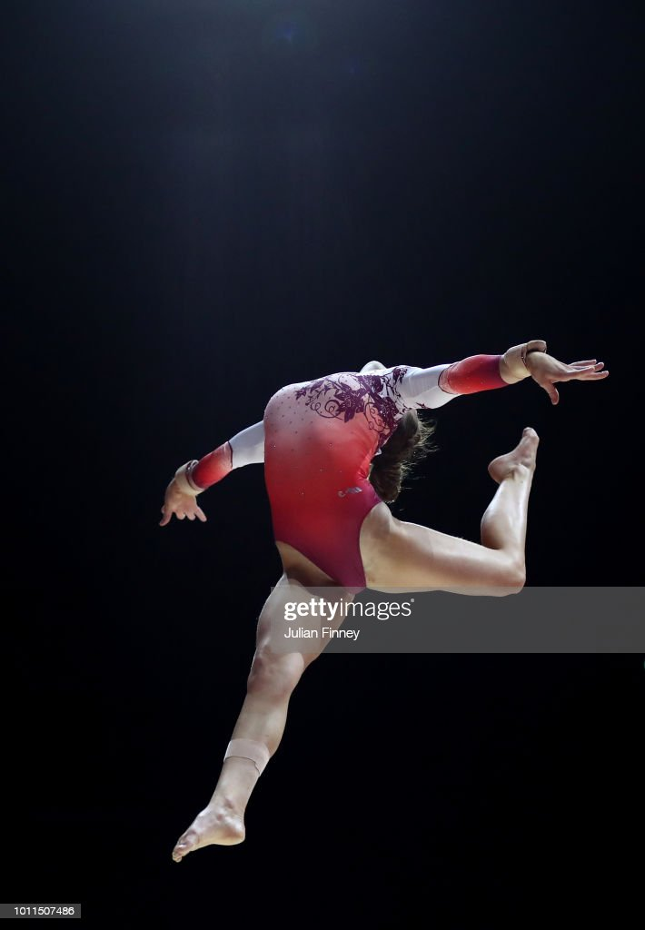 Ilaria Kaeslin of Switzerland competes in the Women's Individual Beam Final during the gymnastics on Day Four of the European Championships Glasgow 2018 at The SSE Hydro on August 5, 2018 in Glasgow, Scotland.