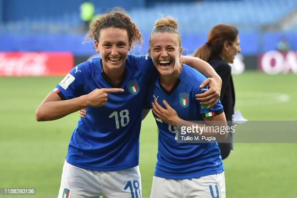 Ilaria Mauro and Aurora Galli of Italy Women celebrate after winning the 2019 FIFA Women's World Cup France Round Of 16 match between Italy and China...
