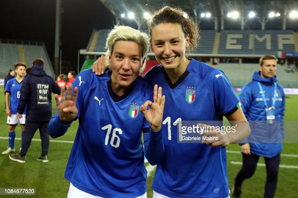 Ilaria Mauro and Stefania Tarenzi of Italy Women celebrates the victory after during the International Friendly match between Italy Women and Chile...