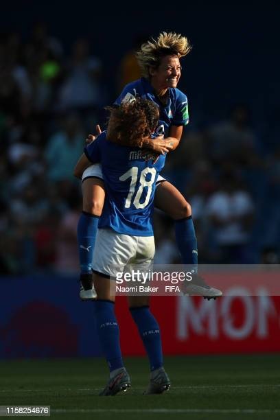 Ilaria Mauro and Valentina Giacinti of Italy celebrate following their sides victory in the 2019 FIFA Women's World Cup France Round Of 16 match...