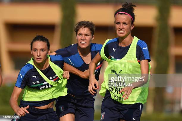 Ilaria Mauro Elena Linari and Barbara Bonansea in action during a Italy women's football team training session at Coverciano on July 13 2017 in...