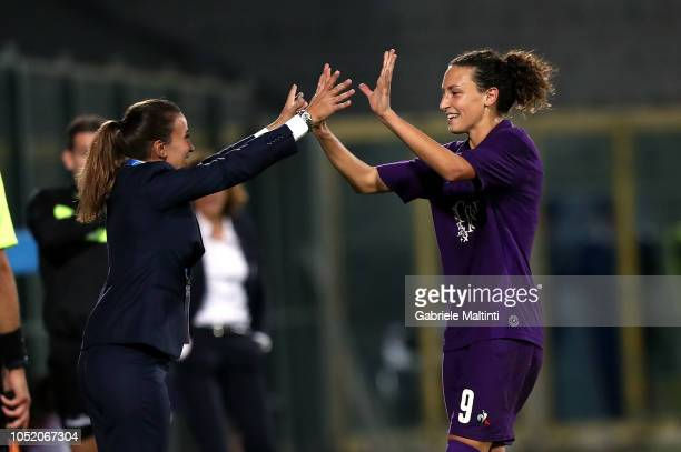 Ilaria Mauro of ACF Fiorentina celebrates after scoring a goal during the Italian Supercup match between Juventus Women and Fiorentina Women on...