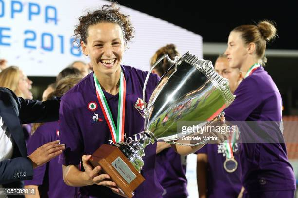 Ilaria Mauro of ACF Fiorentina celebrates the victory during the Italian Supercup match between Juventus Women and Fiorentina Women on October 13...