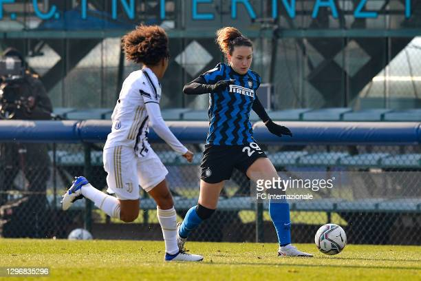 Ilaria Mauro of FC Internazionale in action during the Women Serie A match between FC Internazionale and Juventus at Suning Youth Development Centre...