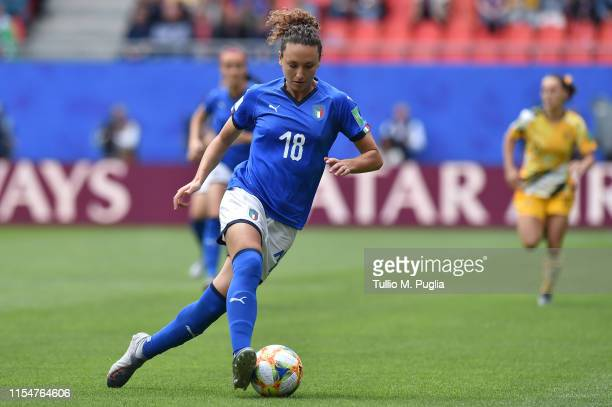 Ilaria Mauro of Italy in action during the 2019 FIFA Women's World Cup France group C match between Australia and Italy at Stade du Hainaut on June...