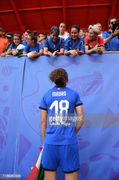 Ilaria Mauro of Italy meets supporters after losing the 2019 FIFA Women's World Cup France Quarter Final match between Italy and and Netherlands at...