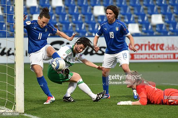 Ilaria Mauro of Italy scores the goal 21 during the UEFA Women's Euro 2017 qualifier between Italy and Northern Ireland at Mapei Stadium Citta  del...