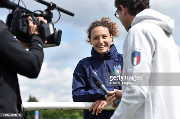 Ilaria Mauro of Italy Women answers questions during a press conference after training session at Stade Cristophe Laurent on June 06 2019 in...