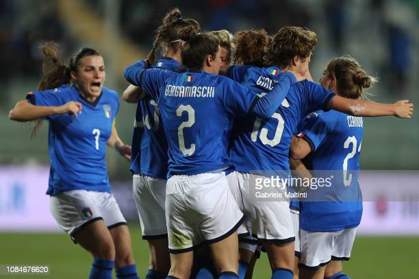 Ilaria Mauro of Italy Women celebrates after scoring a goal during the International Friendly match between Italy Women and Chile Women at Stadio...