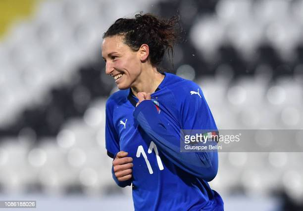 Ilaria Mauro of Italy Women celebrates after scoring goal 20 during the International Friendly match between Italy Women and Wales Women at Dino...