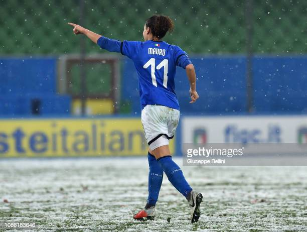 Ilaria Mauro of Italy Women celebrates after scoring the opening goal during the International Friendly match between Italy Women and Wales Women at...