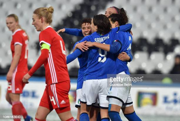 Ilaria Mauro of Italy Women celebrates with teammates after scoring the opening goal during the International Friendly match between Italy Women and...