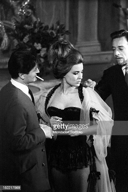 Ilaria Occhini in a scene of the play 'Un marziano a Roma' where she interprets the role of the prostitute Anna on the left Nino Dal Fabbro in the...
