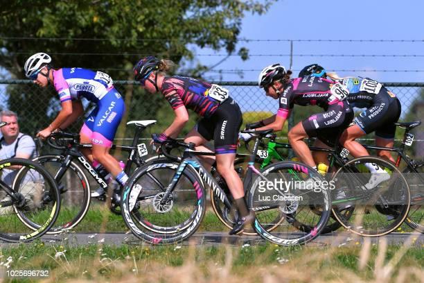 Ilaria Sanguineti of Italy and Team Valcar Pbm / Alice Barnes of Great Britain and Team CanyonSram Racing / Anastasia Iakovenko of Russia and Team...