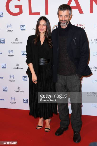 Ilaria Spada and Kim Rossi Stuart attend Gli Anni Più Belli premiere at Auditorium della Conciliazione on February 03 2020 in Rome Italy