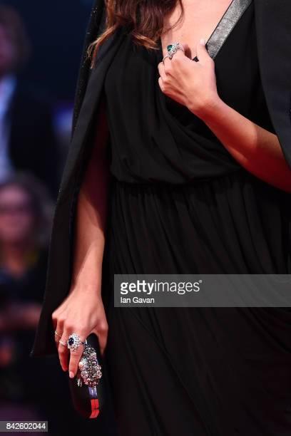 Ilaria Spada fashion detail walks the red carpet wearing a JaegerLeCoultre watch ahead of the 'Three Billboards Outside Ebbing Missouri' screening...