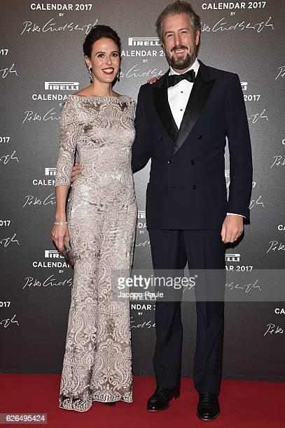 Ilaria Tronchetti Provera and Anselmo Guerrieri Gonzaga attend Pirelli Calendar 2017 by Peter Lindberg photocall at La Cite Du Cinema on November 29...