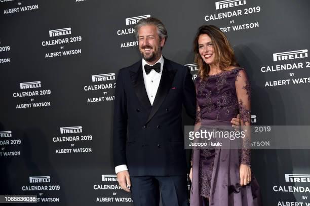 Ilaria Tronchetti Provera and Anselmo Guerrieri Gonzaga walk the red carpet ahead of the 2019 Pirelli Calendar launch gala at HangarBicocca on...