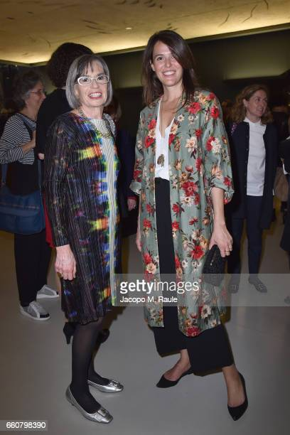 Ilaria Tronchetti Provera and Claudia Consolandi attend Andy Warhol Sixty Last Suppers exhibition private view and dinner party hosted by Gagosian...