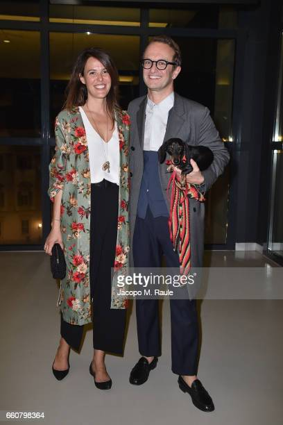 Ilaria Tronchetti Provera and Massimiliano Locatelli attend Andy Warhol Sixty Last Suppers exhibition private view and dinner party hosted by...
