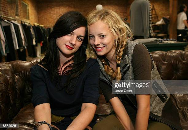 Ilaria Urbinati and actress Bijou Phillips attend the Confederacy Hearts Rag and Bone cocktail party held at Confederacy on November 18 2008 in Los...