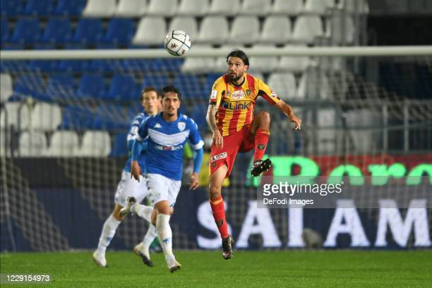 Ilario Monterisi of U.S. Lecce controls the ball during the Serie B match between Brescia and Lecce at Mario Rigamonti Stadion on October 16, 2020 in...