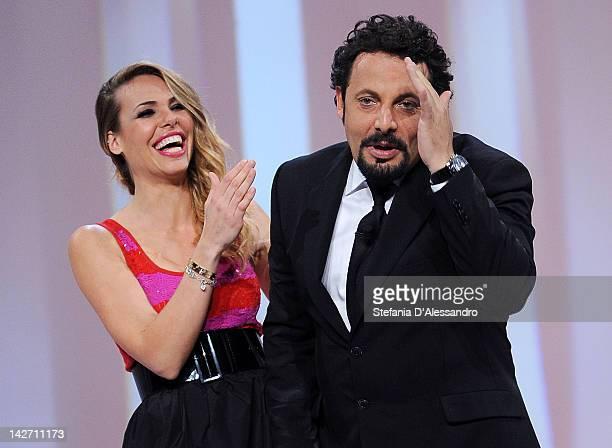 Ilary Blasi and Enrico Brignano attend 'Le Iene' Italian TV Show on April 11 2012 in Milan Italy