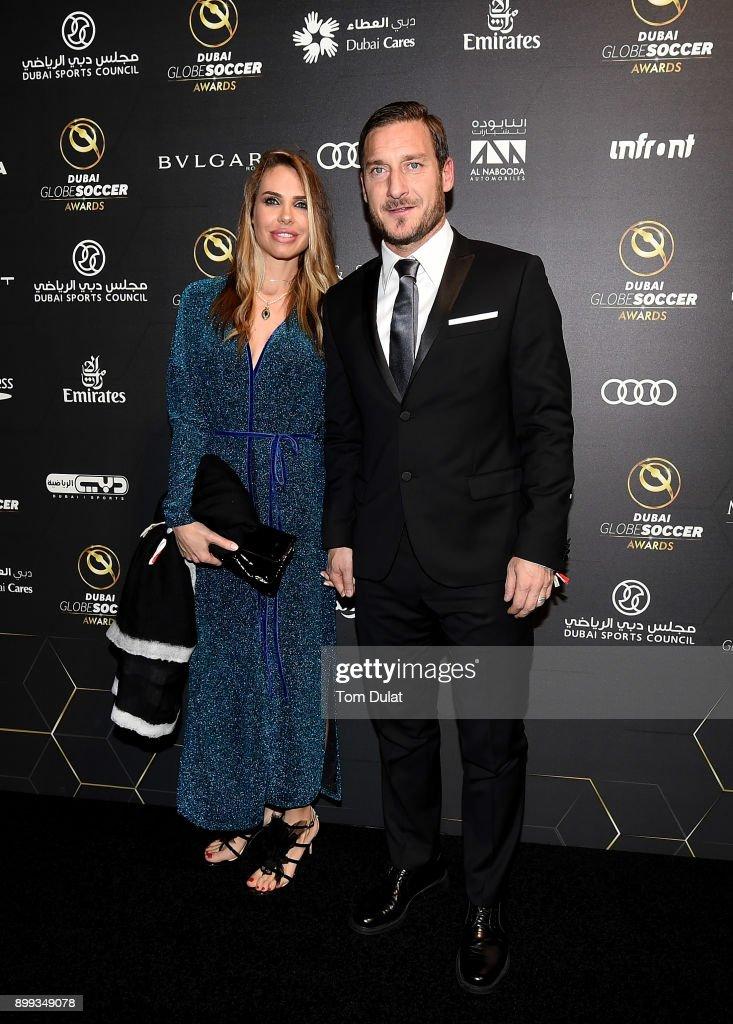 Ilary Blasi and Francesco Totti attend the Globe Soccer Awards 2017 on December 28, 2017 in Dubai, United Arab Emirates.