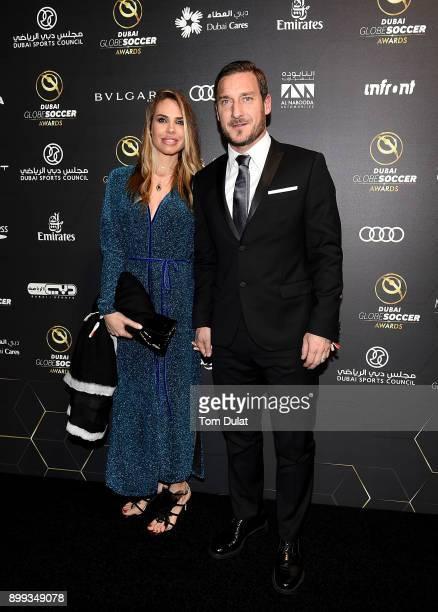Ilary Blasi and Francesco Totti attend the Globe Soccer Awards 2017 on December 28 2017 in Dubai United Arab Emirates