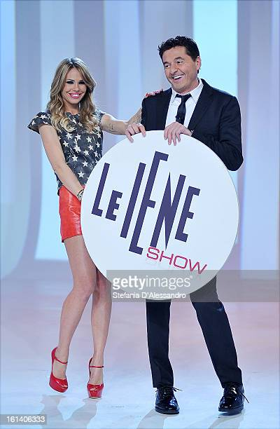 Ilary Blasi and Teo Mammuccari attend 'Le Iene' Italian TV Show on February 10, 2013 in Milan, Italy.