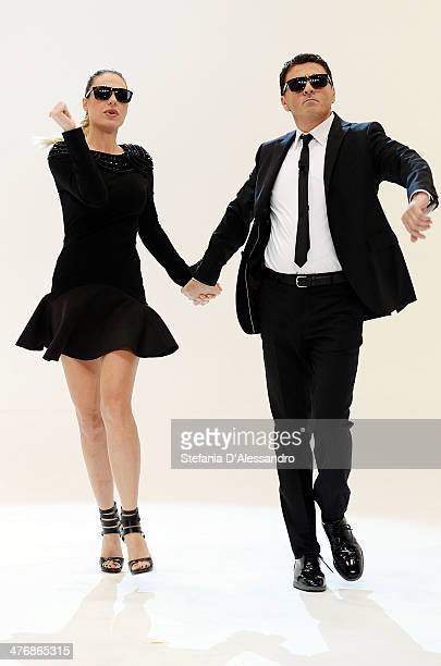 Ilary Blasi and Teo Mammuccari attend 'Le Iene' Italian TV Show on March 5 2014 in Milan Italy