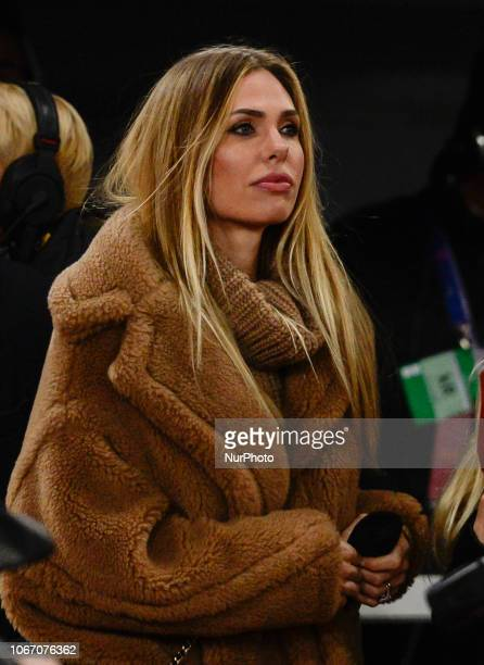 Ilary Blasi is an italian showgirl and wife of Francesco Totti during the UEFA Champions League match between Roma and Real Madrid at Stadio...