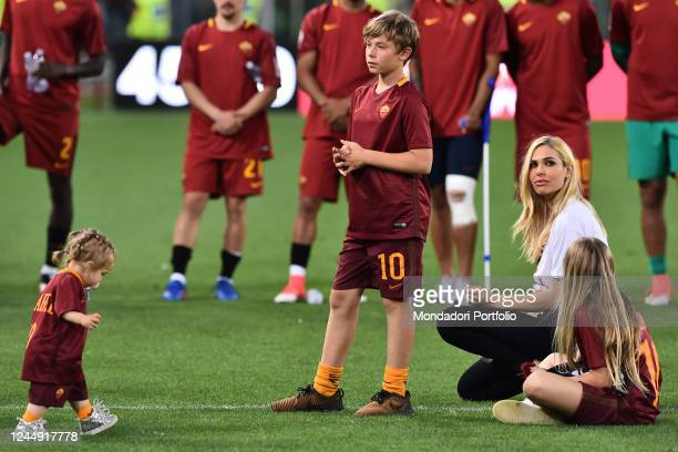 Ilary Blasi with his sons Chanel Cristian and Isabel during Francesco Totti's last match with AS Roma Olympic stadium Rome May 28th 2017