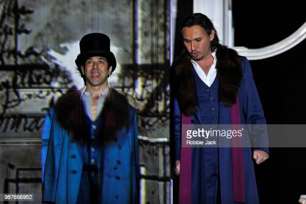 Ildebrando D' Arcangelo as Leporello and Mariusz Kwiecien as Don Giovanni in the Royal Opera's production of Wolfgang Amadeus Mozart's Don Giovanni...