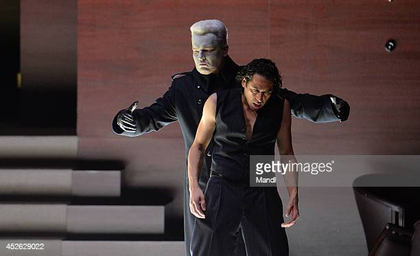 Ildebrando D'Arcangelo and Tomasz Konieczny are seen during the photo rehearsal of 'Don Giovanni' at Haus fuer Mozart on July 24 2014 in Salzburg...