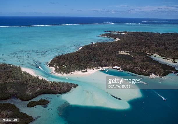 Ile aux Cerfs and the coral reef lagoon east coast Mauritius