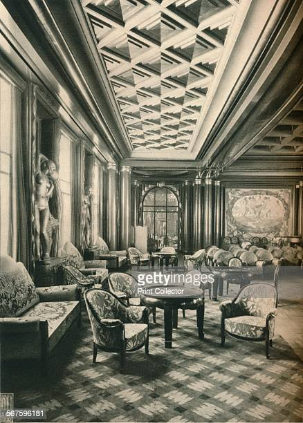 Ile de France Grand Salon' c1927Statues in Cement of La Marne and L'Oise in the Grand Salon of the SS Ile de France by Albert Pommier The SS Ile de...