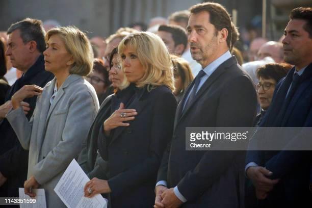 Ile de France Region President Valerie Pecresse, Paris Mayor Anne Hidalgo, wife of French President, Brigitte Macron and French Interior Minister...